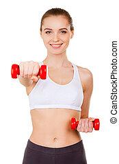 運動, training., 美麗, 年輕婦女, 在, 運動衣服, 訓練, 由于, dumbbells, 以及, 微笑, 當時, 站立, 被隔离, 在懷特上