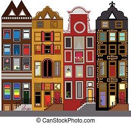 運河, アムステルダム, netherlands, 家