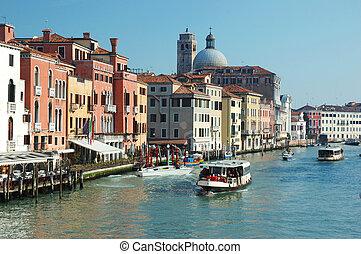 運河, イタリア, ベニス, 光景, 壮大