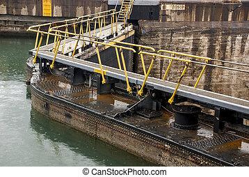 運河, -, パナマ, gatun, 錠