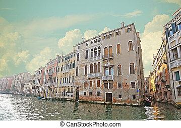 運河, ベニス, イタリア, 歴史的, tenements, 壮大