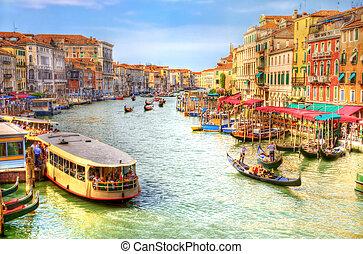 運河, ベニス, 壮大, 光景
