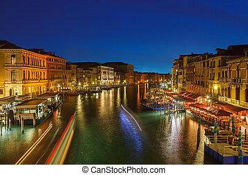 運河, ベニス, 夜, 壮大