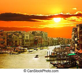 運河, ベニス, 日没, 壮大