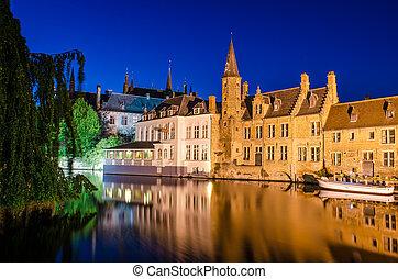 運河, 中世, bruges, 水, 家, 夜, ベルギー, 反射