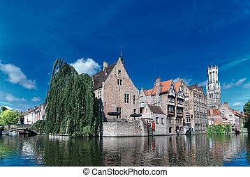 運河, 古い, brugge, ベルギー