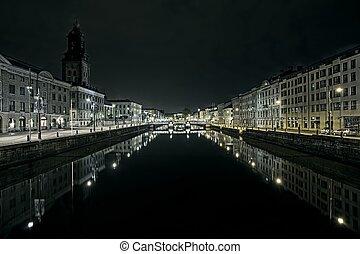 運河, 在中間, ......的, gothenburg, 瑞典