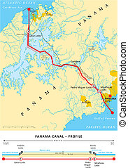 運河, 地図, パナマ, 政治的である