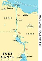 運河, 地図, 政治的である, スエズ