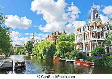 運河, 大邸宅, netherlands, amsterdam., 美しい