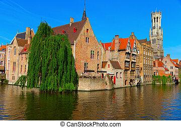 運河, 家, bruges, ベルギー