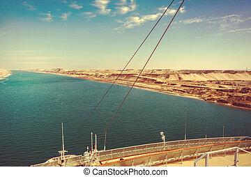 運河, 拡張, 東, -, ドライブする, 新しい, 船, スエズ