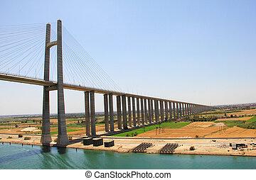 運河, 橋, 横切って, スエズ