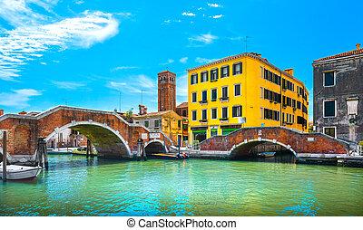 運河, 橋, cannaregio., ベニス, ダブル, italy., 水