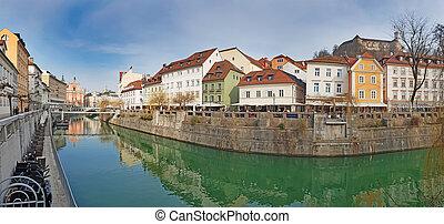 運河, 町, 古い, パノラマである, ljubljanica, ljubljana, 川, 光景