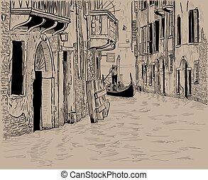 運河, 略述, 老, venice., 旅游者, 平底小船, 手, 維尼斯人, 房子, 數字, 唯一, 圖畫
