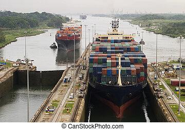 運河, 貨物船, パナマ