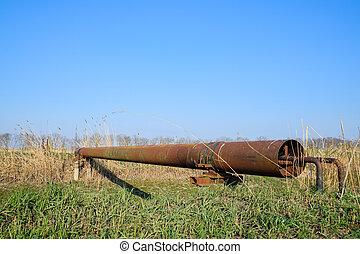 運河, 鋼鉄, パイプライン, 保護である, ガス, 潅漑, によって, pipe.