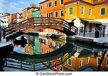 運河, burano, イタリア, カラフルである, ベニス, 島, 家