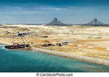 運河, el, 開いた, 拡張, 橋, ferdan, スエズ, 建設, 新たに, 仕事, 残留する, チャンネル, 光景