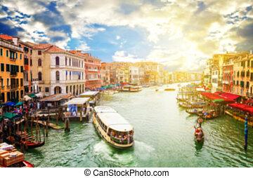 運河, italy, 威尼斯, 摘要, 弄污背景, 盛大, 圖像