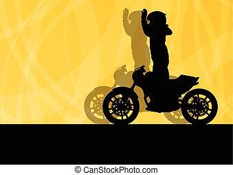 運転手, ベクトル, オートバイ, 背景, パフォーマンス, スタントマン, 極点