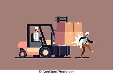 運転手, 労働者, 事故, 工場, 危ない, 倉庫, ロジスティックである, ヒッティング, 輸送, 横, 同僚, フォークリフト, 概念, 傷つけられる