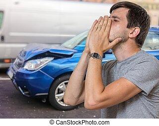 運転手, 悲しい, 自動車, bac, 失望させられた, ∥そうした∥, accident., 破壊された