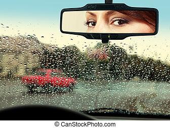 運転手, 顔つき, へ, rearview ミラー