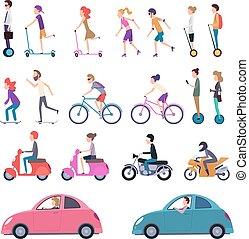 運転, ベクトル, 人々, 車, スクーター, 都市, 乗馬, スケート, 自転車, 漫画, 都市, 電気である, イラスト, transport., segway