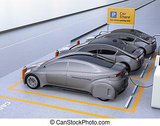 運転, 自動車, 光景, 共有, 利用できる, 側, 自己