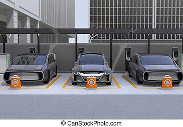運転, 自動車, 光景, 共有, 利用できる, 前部, 自己