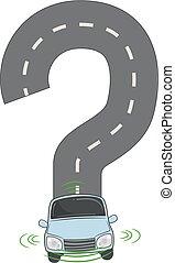 運転, 自動車, 自己, 質問, イラスト, 印