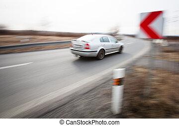 運転, 自動車, 速い, 回転, 交通, シャープ, によって,  concept: