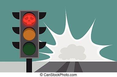 運転, 衝突, 動くこと, 止まれ, 道, サイン, 一緒に, 交差点, 無視, 安全である, 原因, 赤, 信号