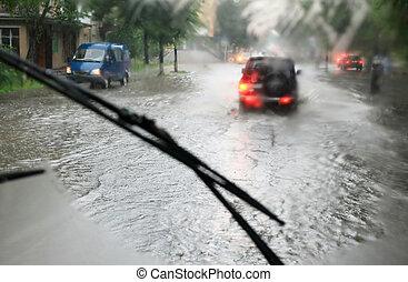 運転, 雨