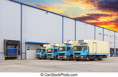 運輸, 卡車, 停靠方式, 在, 倉庫