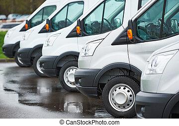 運輸, 服務, company., 商業, 交付, 貨車, 在, 行
