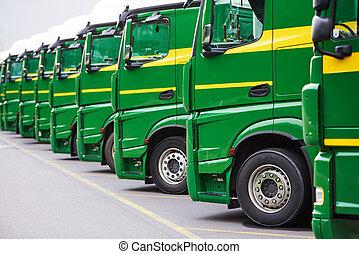 運輸, freighting, 服務, 卡車, 卡車, 在, 行