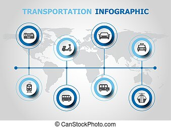 運輸, infographic, 設計, 圖象