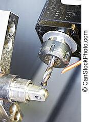 過程, 特寫鏡頭, 机器加工, 金屬, 操練