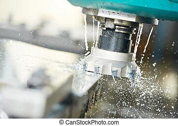 過程, 特寫鏡頭, 机器加工, 金屬, 米爾