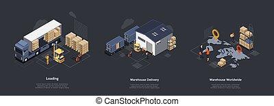 過程, 等量, 說明, concept., 倉庫, 工作, 交付, 裝貨, 人員, 卸貨, delivery., 時間, cargo., 全世界, 分類, 集合, 專業人員, 矢量, 控制, 設備