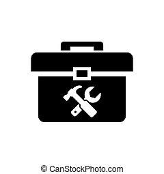 道具箱, ベクトル, 黒, アイコン