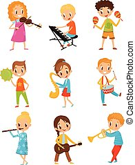 道具, わずかしか, 才能がある, 特徴, 音楽家, 子供, 漫画, ベクトル, 音楽, 背景, イラスト, 白, 遊び