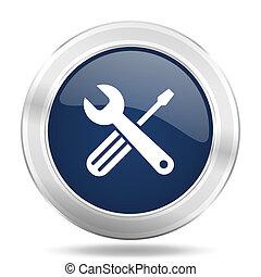 道具, アイコン, 暗い 青, ラウンド, 金属, インターネット, ボタン, 網, そして, モビール, app, イラスト