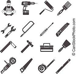 道具, アイコン, 黒, セット