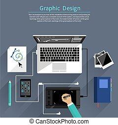 道具, グラフィック, 概念, デザイン, デザイナー