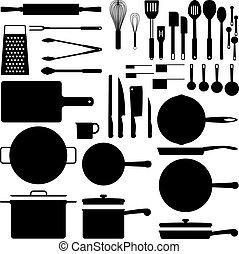 道具, シルエット, 台所