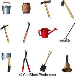 道具, セット, 園芸